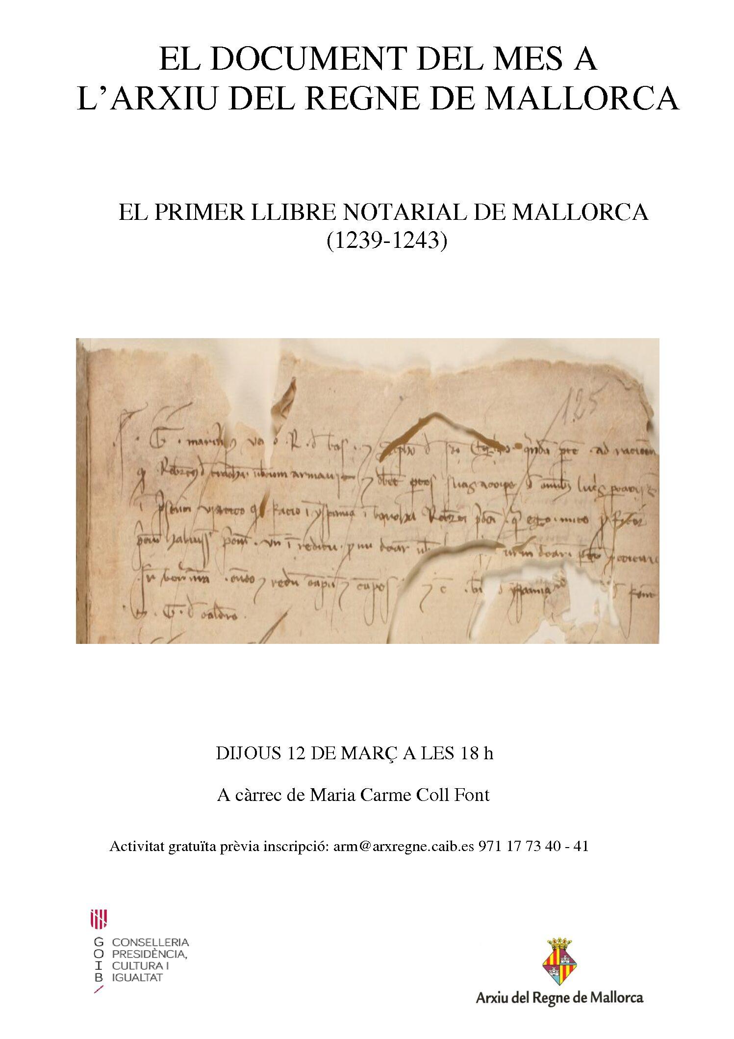El primer llibre notarial de Mallorca